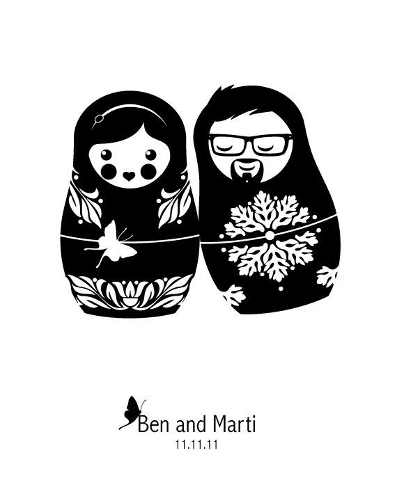 Wedding Portrait in Russian Nesting Doll Style by LuvinEveryMinute, $15.00