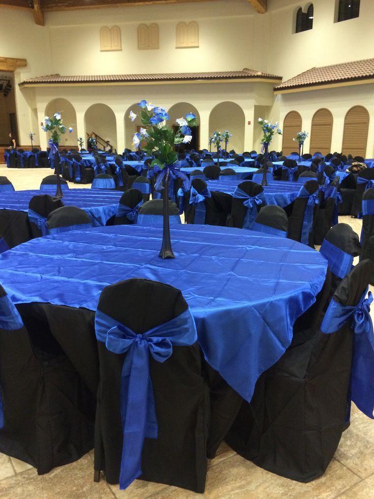 black quinceanera decorations | Jasmine Quinceanera hall décor royal blue black star theme