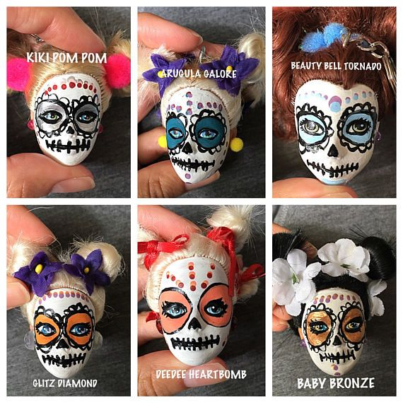 Day of the Dead Barbie Head Keychain (Drag Queen Inspired Names)