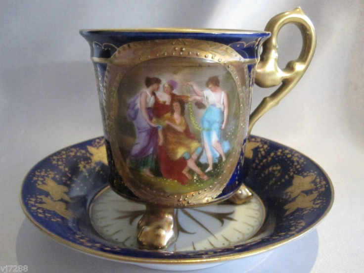 Antique Signed Royal Vienna Hand Painted Cup and Saucer: