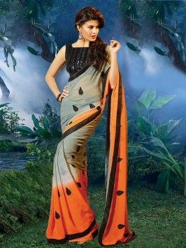 Grey Georgette Saree With Sequince Work