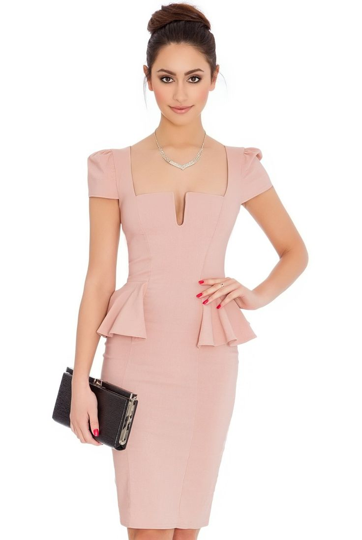 Deep Neckline Side Peplum Short Sleeve Midi Dress - Nude - Front