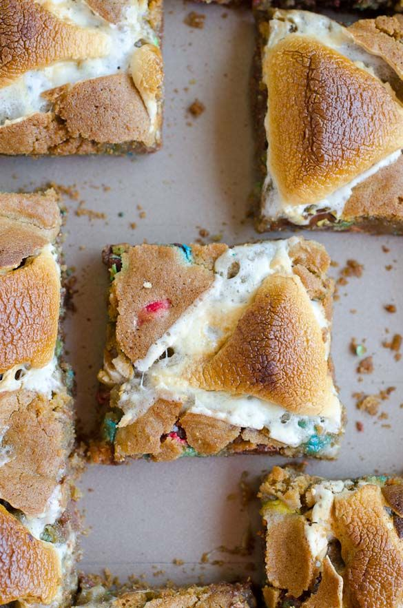 Gooey Roasted Marshmallow M&M Cookie Bars