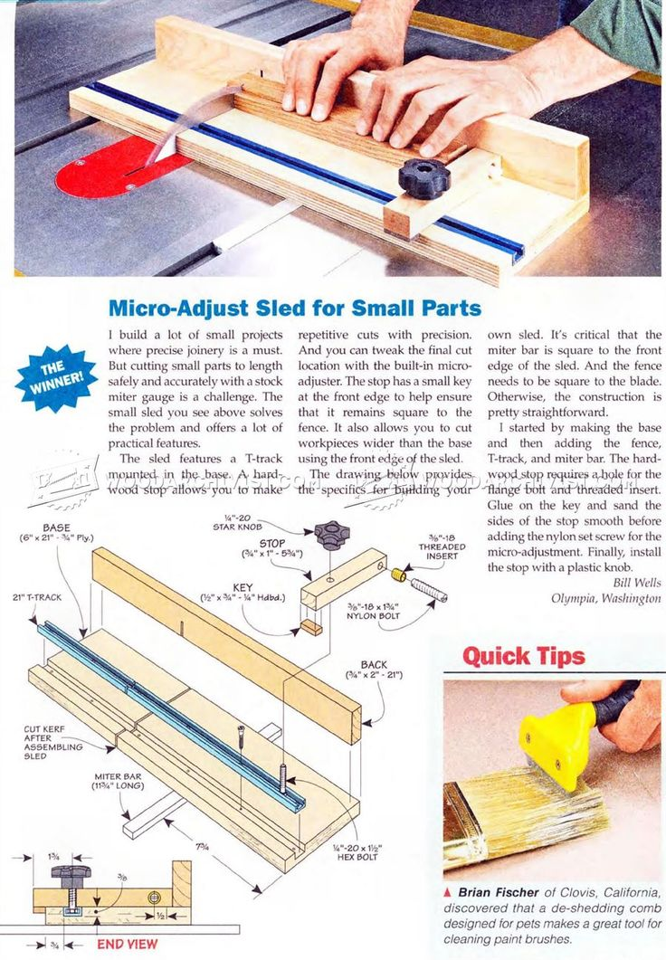 Micro Adjust Sled for Small Parts - Table Saw Tips, Jigs and Fixtures   WoodArchivist.com