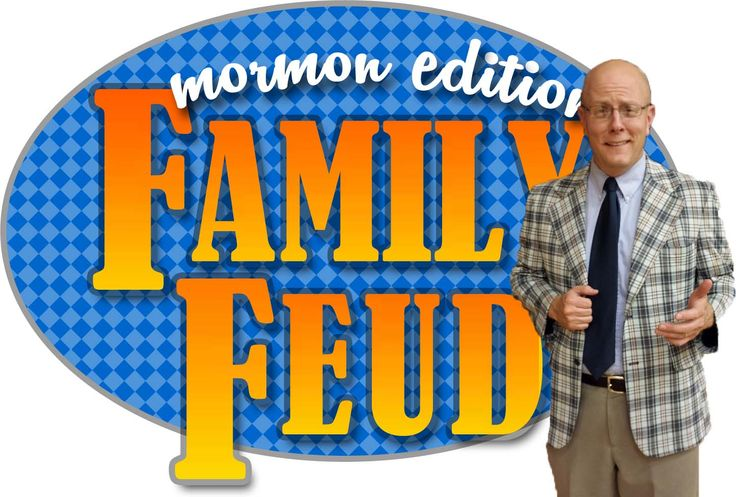 Family Feud Mormon Edition by Chris Romney. Powerpoint, host notes, room set up and an amazing survey. Printable logo! Everything you need for a super fun night playing Family Feud with your youth group, Seminary kids or ward family.