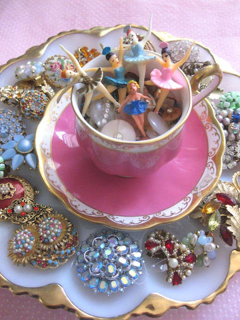 egg platter with teacup filled with bling