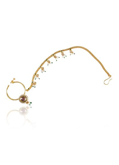 Nose ring in vilandi in gold finish with chain