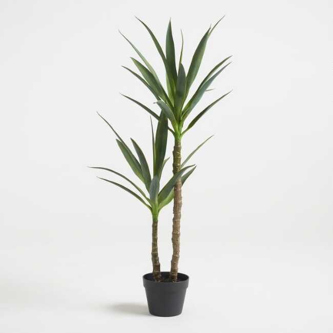 Two Realistic Stalks Topped With Spiky Evergreen Leaves Our Faux Yucca Tree Boasts A Bold Silhouette And Effortless Desert Yucca Tree Faux Plants Potted Trees