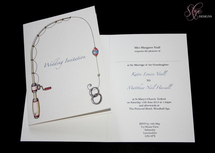 Fishing rod rings wedding invitations our dream for Fishing wedding invitations