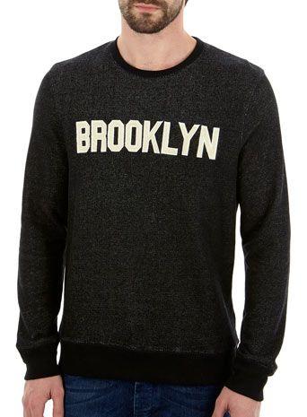 Black Brooklyn Printed Crew Neck Sweatshirt