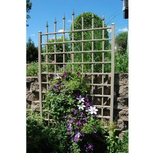 Dura-Trel 11174M Winchester Trellis, Mocha by Dura-Trel, Inc.. $144.98. Easy to Install; install against wood, siding or log wall included with wall mounting kit. Easy to Assemble; pre-cut and pre-drilled holes with all hardware included. Made in the USA. 2 by 2-Inch posts. 20 Year Warranty; 100-percent maintenance free; PVC vinyl will not crack, fade, peel or discolor. Made in USA. This large trellis with decorative finials is designed for use against most walls. It can be easi...