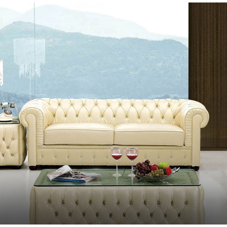 258 Sofa In Ivory Leather By Esf