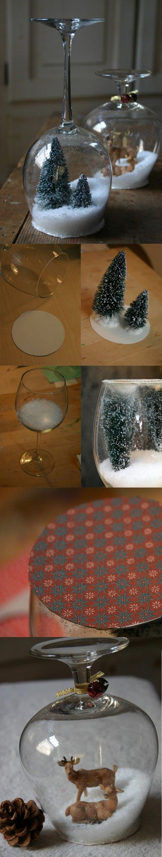 DIY Christmas gift - Wine glass snowglobe! Add any ornament you wish! So want to do this with a little penguin