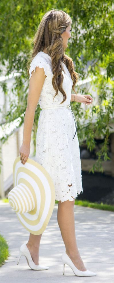 White Lace Dress Classic Style by Chic Street Style