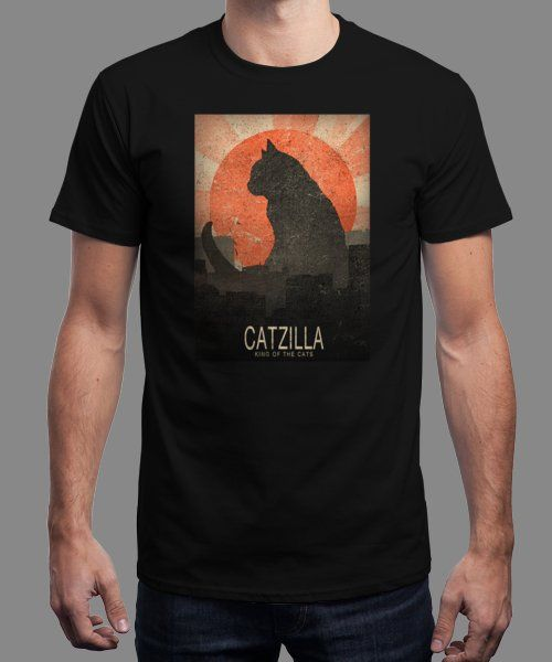 """Catzilla"" is today's £8/€10/$12 tee for 24 hours only on www.Qwertee.com Pin this for a chance to win a FREE TEE this weekend. Follow us on pinterest.com/qwertee for a second! Thanks:)"