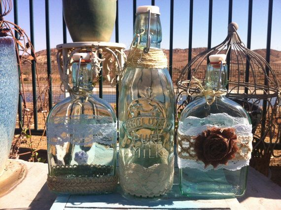 Wedding sand ceremony bottles vintage glass jugs for Best way to sand glass bottles