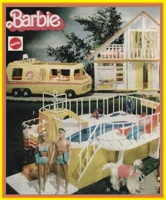 Barbie house, pool and motor home. 80's