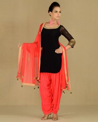 #Exclusivelyin, #IndianEthnicWear, #IndianWear, #Fashion, Black Suit with Bejewelled Neckline