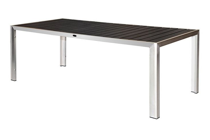 New Port 2100 Poly-Timber Dining Table - The Newport ALU & Poly-Timber 2100 Dining Table is made of a stainless-steel look commercial quality (6063 aluminum) frame with black Poly-Timber slats. Poly-Timber is Eco-Friendly; it's made from recycled HDPE plastic with outstanding outdoor performance characteristics. Recycled Plastic Poly-Timber Slats are impervious to all types of weather conditions including rain, sun, salt water spray or even frost. Poly-Timber offers the richness and …