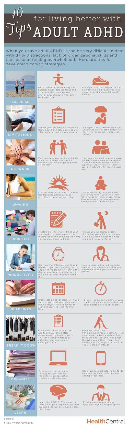 10 Tips for Living Better with Adult ADHD #Infographic - Exercise, Network, Unwind, Learn, Prioritize...""