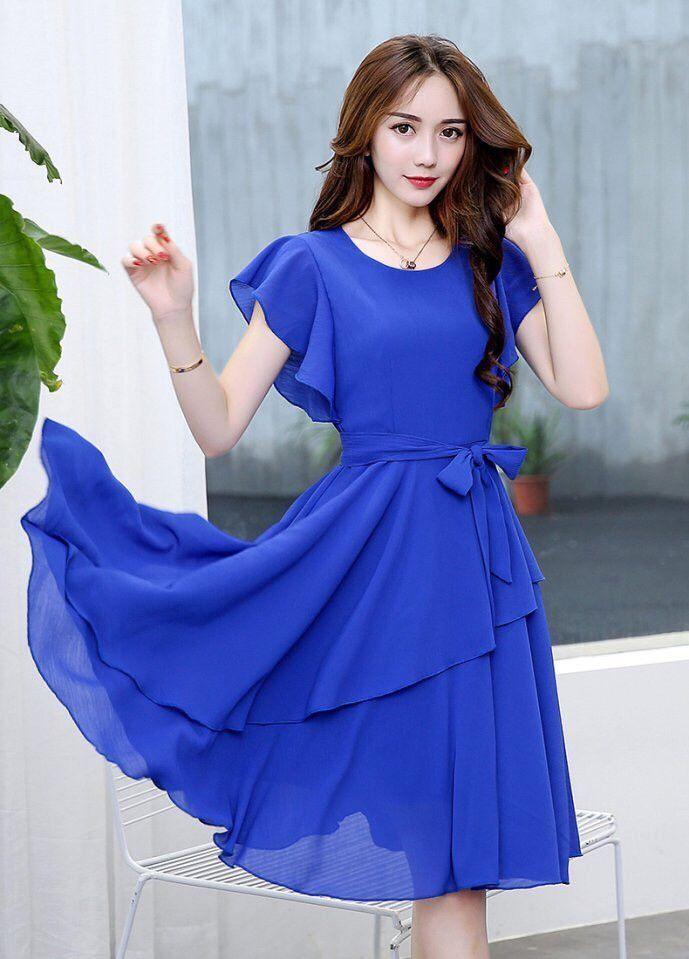 Đầm voan xòe thiết kế dễ thương màu xanh   Đầm xòe đẹp