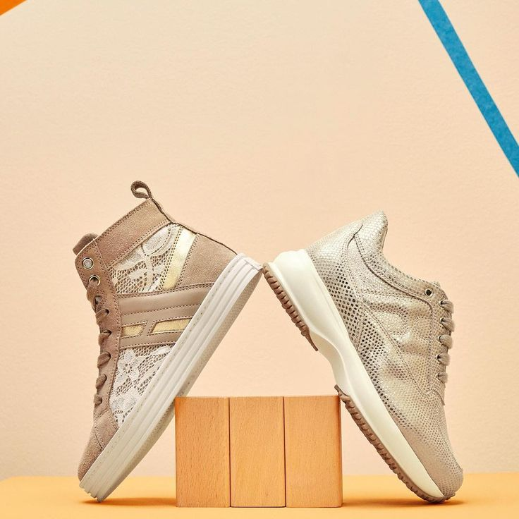 Let them shine with the #HoganJunior #R141 Hi Top and #Interactive #sneakers