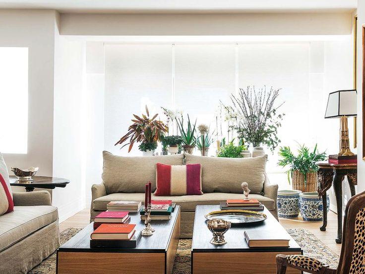 El sofá desenfundable es el modelo Louvre, en lino. Es de Blasco & Blasco