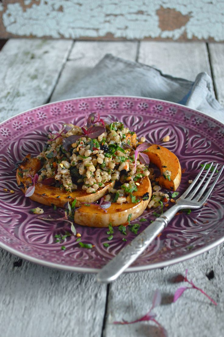 Spiced pearl barley with balsamic roast pumpkin | heneedsfood.com