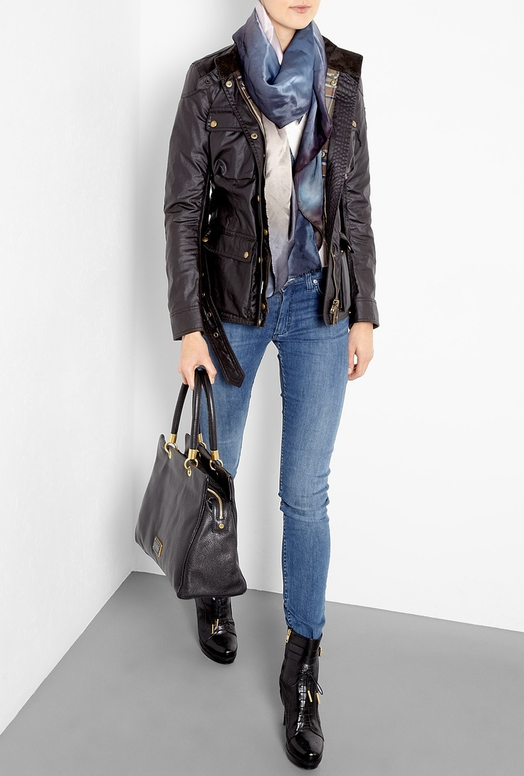 Black Too Hot To Handle Ultimate Leather Tote by Marc By Mar with d with Acne Jeans, Burberry Shoes Boots and Belstaff Jacket.