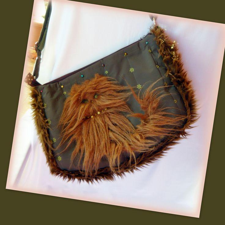 Handmade by Judy Majoros -Cat faux fur shoulder bag - crossbody bag.Recycled bag