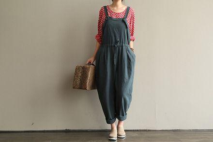 Coton amples combinaisons gris-bleu - vêtements féminins  : Pantalons, jeans, shorts par la-boutique-de-tremode
