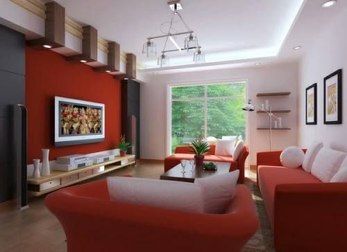 Una pared de tono vino tinto en la sala, el comedor o el estudio ...