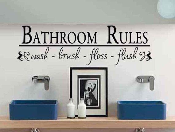 Bathroom Wall Decal Bathroom Rules Wash Brush Floss Flush Bath Room Wall Sticker Bath Room Rules Vinyl Lettering Wall Decor Kids Childs Bath