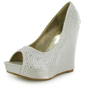ivorywhite satin diamante wedge wedding shoes