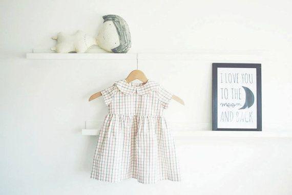 White Checkered Girls Dress Gathered Skirt Toddler Dress by OffOn