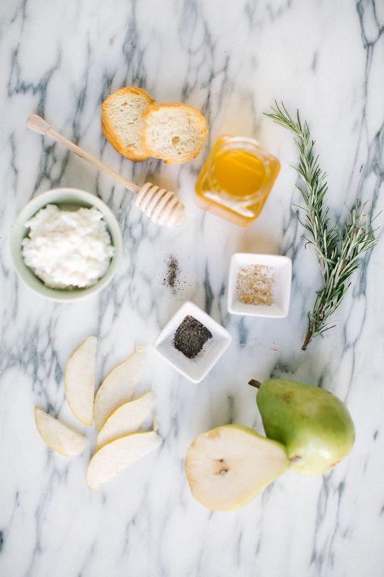 honey, pear, and ricotta crostini