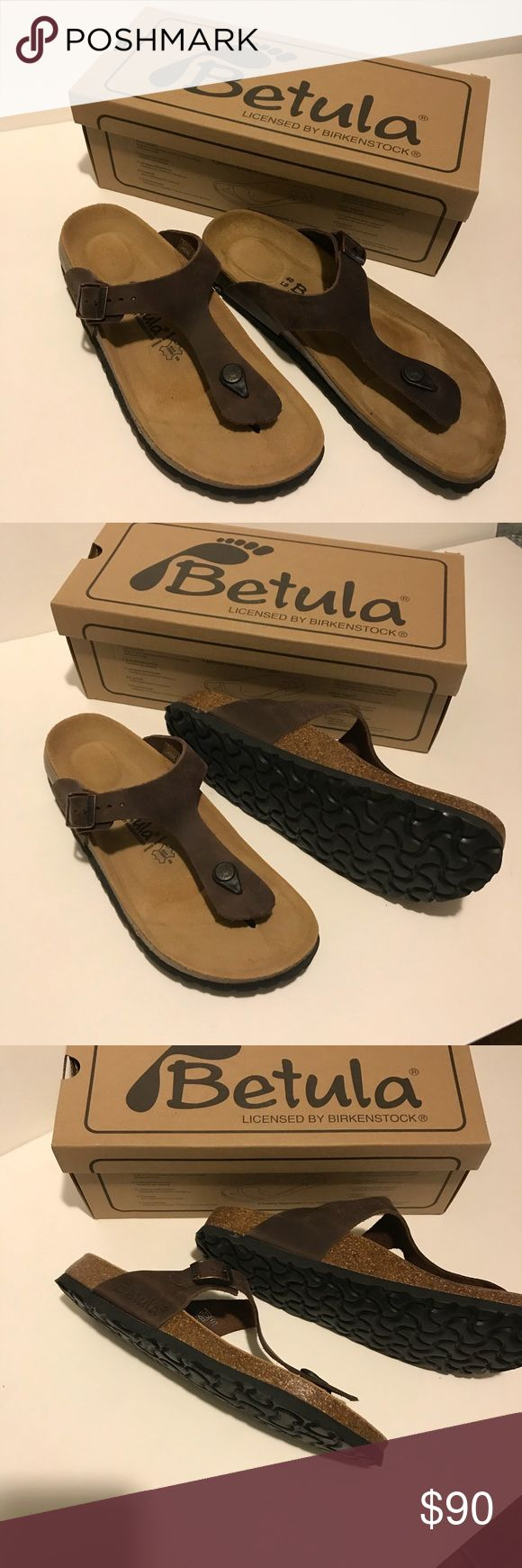 New in Box Betula sandals in brown leather New in Box Betula Sandals in brown leather by Birkenstock.  Sizing on shoe says Euro 40/US Women's size 9, although Euro 40 is usually a size 10.  I wear a size 9.5 and they fit me perfectly. Birkenstock Shoes Sandals