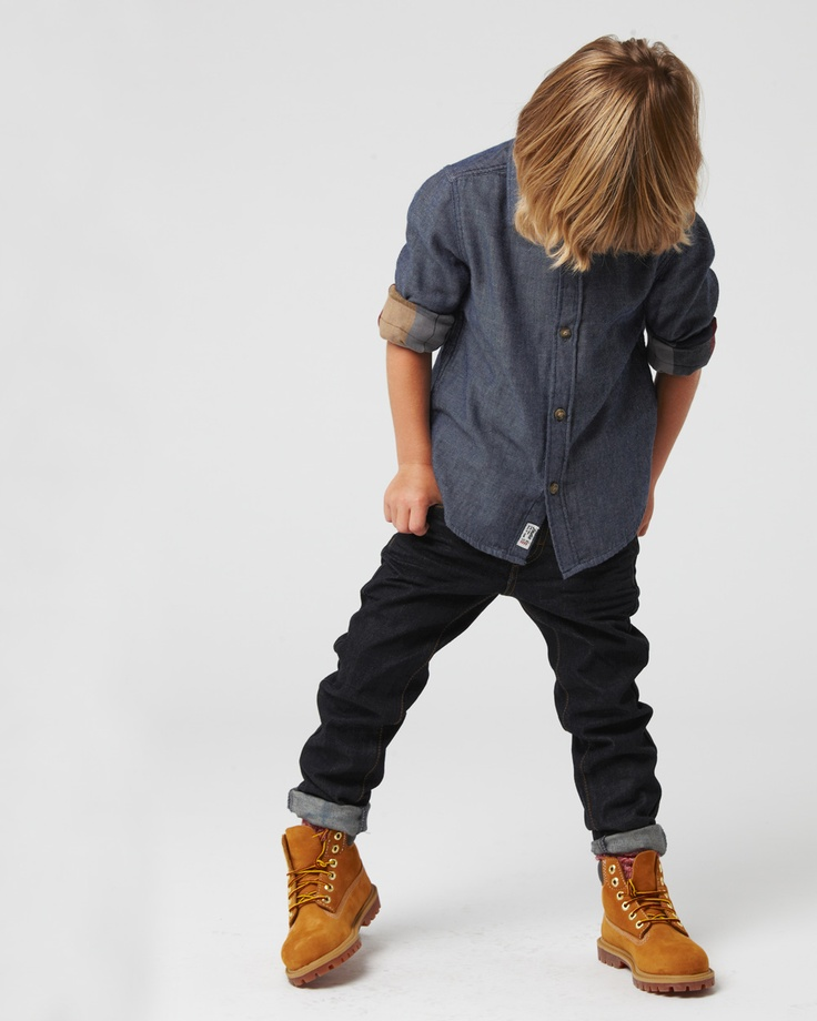 the MCLENNEN double sided shirt, available in ages 3 - 14. the DENIM SKATER SKINNY jean in blue raw, available in ages 3 - 14. www.industriekids.com.au