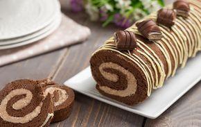 gâteau roulé au Kinder Bueno avec Thermomix, recette d' une génoise au chocolat roulée garnie d'une délicieuse crème au kinder bueno.
