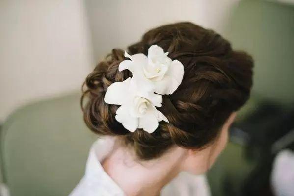 gardenia in wedding updo