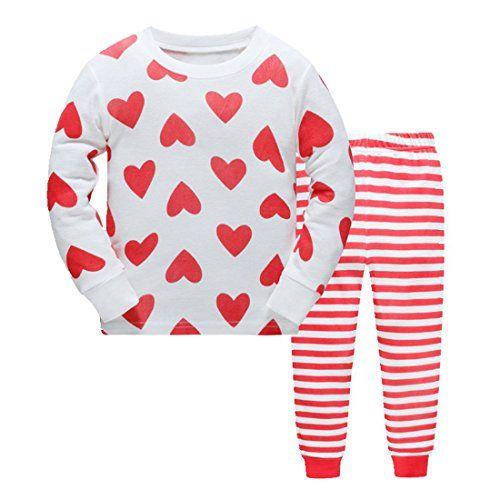 fdcce53af8bb5 Yzjcafriz Girls Pajamas Rib Cotton Long Sleeves Toddler small heart Pjs  Sleepwear 2 Piece