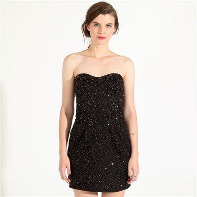 Vestido en negro con brillo