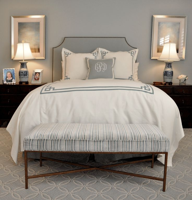Bedroom Ideas Gray Sleigh Bed Bedroom Ideas Small Bedroom Wall Art Bedroom Bench Stool: Gray-blue And White Bedding, Upholstered Headboard, And