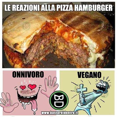 Reazioni alla #pizzaburger di in #onnivoro e di un #vegano. #bastardidentro #hamburger #pizza www.bastardidentro.it