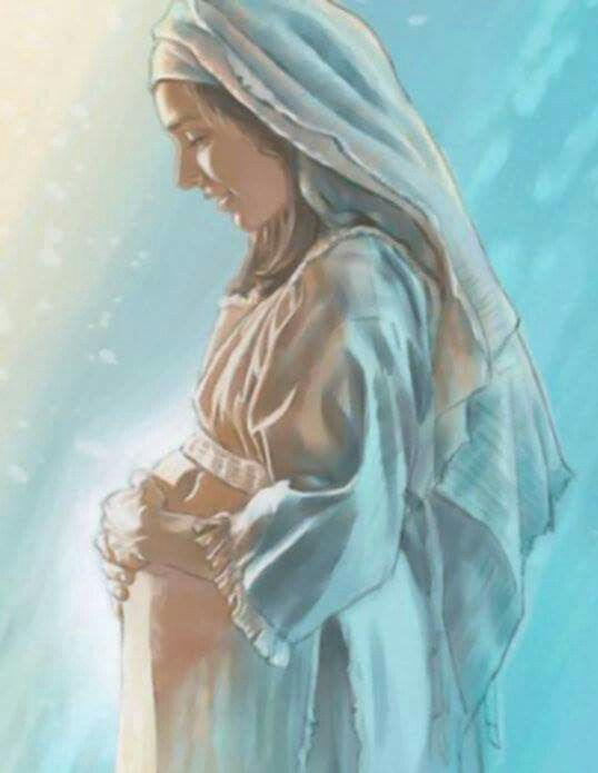 ~J   Mariam with the babe -Jesus- in her holy womb !
