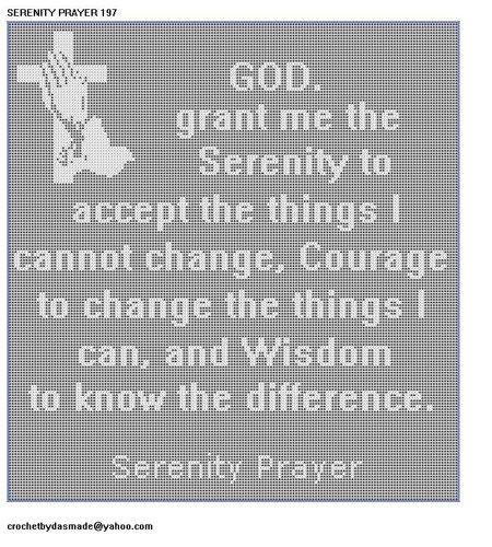 197 Serenity Prayer Filet Crochet Pattern Wallhanging