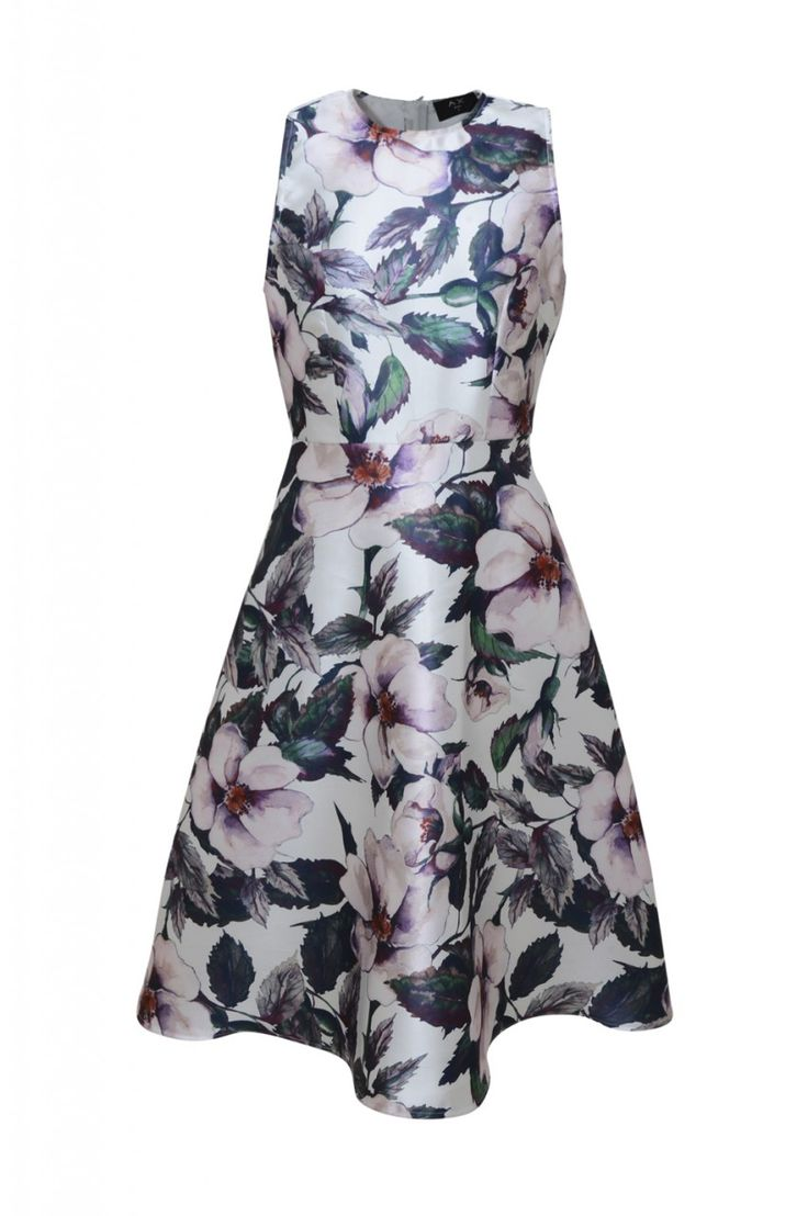 """Make a statement this season in this sleeveless cream and purple floral printed dress! This midi skater style with its high neck and long flared skirt will accentuate your waist and show off your pins. Perfect for any occasion; simply pair with some strappy heels for a look that'll draw all eyes to you.  *PRINT POSITION MAY VARY. Model wears: UK 8/ EU 36/ US 4 Model's height:175cm/ 5'8"""" Approx length from centre back to hem: 102cm Fabric composition: 100% Polyes..."""