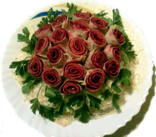 """Salad """"Bouquet of Roses""""...Salad recipe - in Russian - translation is kind of odd, but the salad is pretty!"""