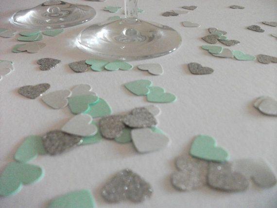 Mint grey silver glitter heart confetti  hand by LondonSparkle