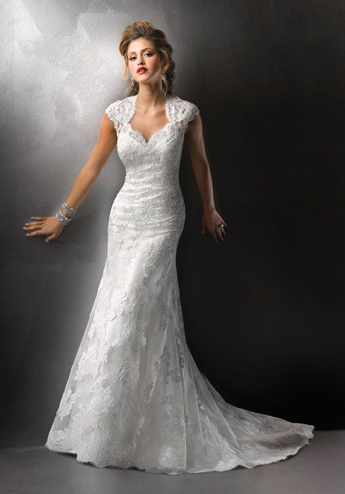 Brush Train Lace A-line Cap Sleeve Natural Waist Wedding Dress
